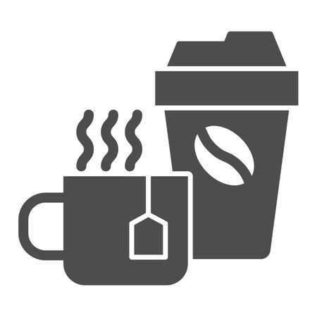 Cup of tea and coffee solid icon, Coffee time concept, hot drinks set sign on white background, Disposable cup with coffee and cup of tea icon in glyph style for mobile. Vector graphics.