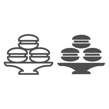 Dish with muffins or cookies line and solid icon, bakery concept, cake stand with dessert sign on white background, dish with macaroons icon in outline style for mobile and web. Vector graphics.