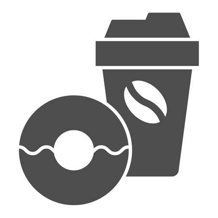 Donut and coffee to go solid icon, breakfast concept, Coffee break time with doughnut sign on white background, disposable coffee cup with sweet donut icon in glyph style. Vector graphics.