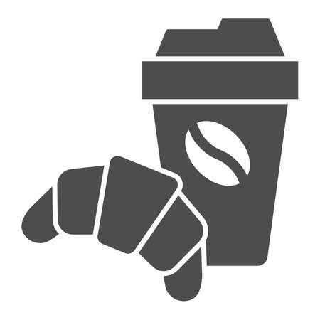 Croissant and cup of coffee solid icon, breakfast concept, Coffee break time with croissant sign on white background, paper cup with hot drink and croissant icon in glyph. Vector graphics.  イラスト・ベクター素材