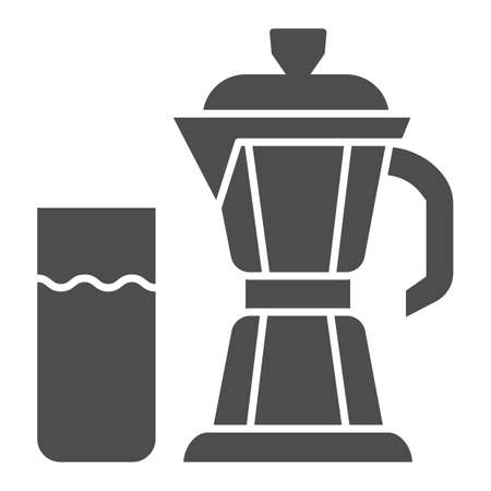 Geyser coffee maker with glass of milk solid icon, Coffee time concept, moka pot sign on white background, coffee kettle with milk icon in glyph style for mobile and web. Vector graphics.  イラスト・ベクター素材