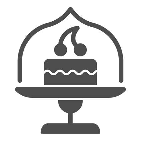 Dish with glass top and cake solid icon, bakery concept, cake stand with dessert sign on white background, cupcake in glass container icon in glyph style for mobile, web. Vector graphics.  イラスト・ベクター素材
