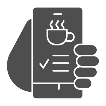 Hand holds smartphone with coffee cup on screen solid icon, Coffee time concept, invitation message for coffee break sign on white background, online cafe menu icon in glyph style. Vector.