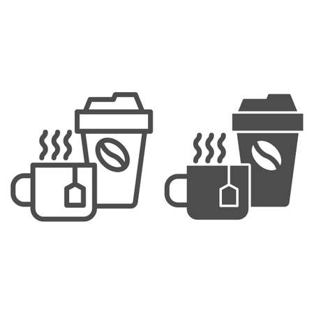 Cup of tea and coffee line and solid icon, Coffee time concept, hot drinks set sign on white background, Disposable cup with coffee and cup of tea icon in outline style for mobile. Vector graphics.