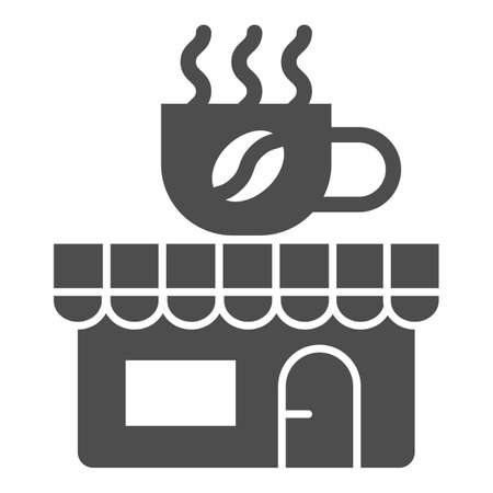 Coffee and tea shop solid icon, Coffee time concept, cafe sign on white background, store with banner with a cup icon in glyph style for mobile concept and web design. Vector graphics.