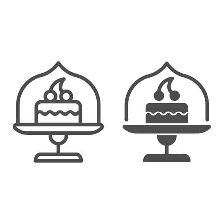 Dish with glass top and cake line and solid icon, bakery concept, cake stand with dessert sign on white background, cupcake in glass container icon in outline style for mobile, web. Vector graphics.  イラスト・ベクター素材
