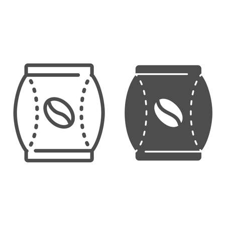 Vacuum bag with coffee beans line and solid icon, Coffee time concept, paper package sign on white background, Coffee bean pack icon in outline style for mobile concept, web design. Vector graphics.