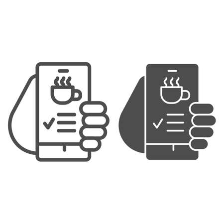 Hand holds smartphone with coffee cup on screen line and solid icon, Coffee time concept, invitation message for coffee break sign on white background, online cafe menu icon in outline style. Vector.