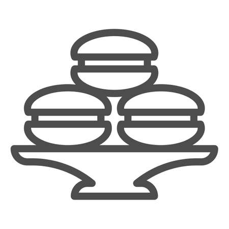 Dish with muffins or cookies line icon, bakery concept, cake stand with dessert sign on white background, dish with macaroons icon in outline style for mobile and web. Vector graphics.  イラスト・ベクター素材