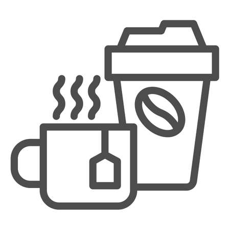 Cup of tea and coffee line icon, Coffee time concept, hot drinks set sign on white background, Disposable cup with coffee and cup of tea icon in outline style for mobile. Vector graphics.
