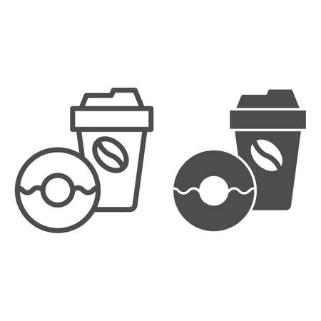 Donut and coffee to go line and solid icon, breakfast concept, Coffee break time with doughnut sign on white background, disposable coffee cup with sweet donut icon in outline style. Vector graphics.  イラスト・ベクター素材