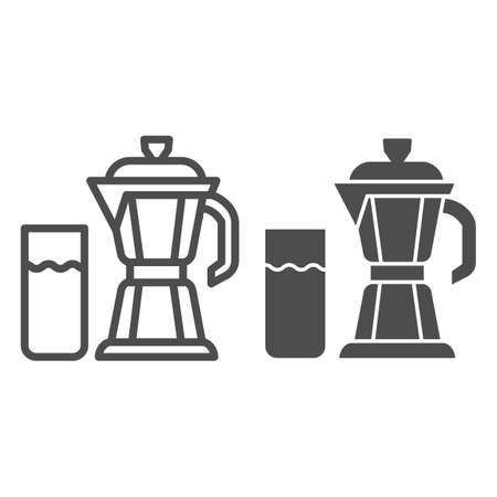 Geyser coffee maker with glass of milk line and solid icon, Coffee time concept, moka pot sign on white background, coffee kettle with milk icon in outline style for mobile and web. Vector graphics.