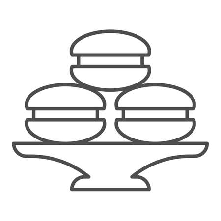 Dish with muffins or cookies thin line icon, bakery concept, cake stand with dessert sign on white background, dish with macaroons icon in outline style for mobile and web. Vector graphics.