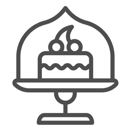 Dish with glass top and cake line icon, bakery concept, cake stand with dessert sign on white background, cupcake in glass container icon in outline style for mobile, web. Vector graphics.  イラスト・ベクター素材