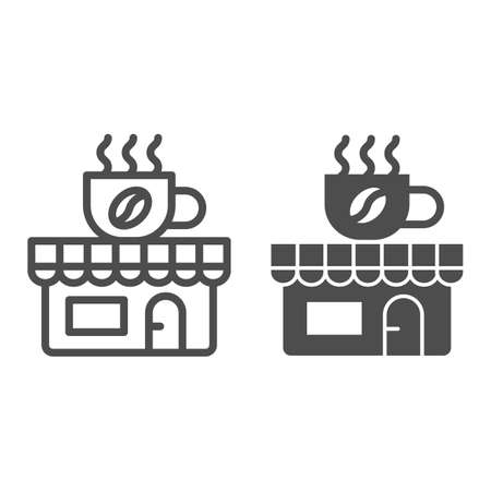Coffee and tea shop line and solid icon, Coffee time concept, cafe sign on white background, store with banner with a cup icon in outline style for mobile concept and web design. Vector graphics.