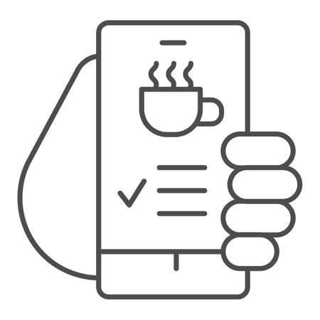 Hand holds smartphone with coffee cup on screen thin line icon, Coffee time concept, invitation message for coffee break sign on white background, online cafe menu icon in outline style. Vector.  イラスト・ベクター素材