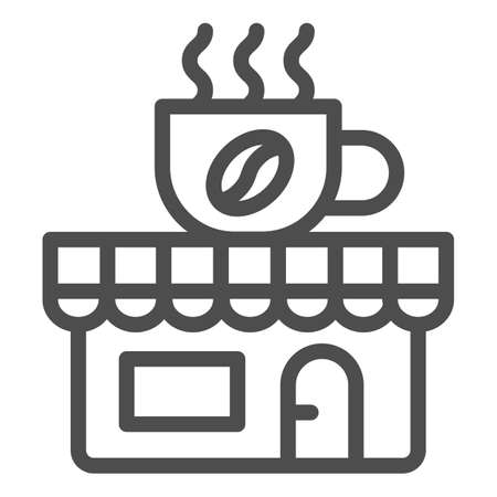 Coffee and tea shop line icon, Coffee time concept, cafe sign on white background, store with banner with a cup icon in outline style for mobile concept and web design. Vector graphics.