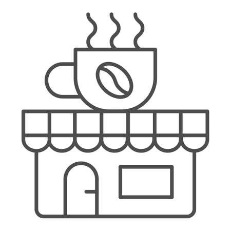 Coffee and tea shop thin line icon, Coffee time concept, cafe sign on white background, store with banner with a cup icon in outline style for mobile concept and web design. Vector graphics.  イラスト・ベクター素材