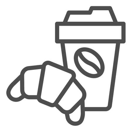 Croissant and cup of coffee line icon, breakfast concept, Coffee break time with croissant sign on white background, paper cup with hot drink and croissant icon in outline. Vector graphics.