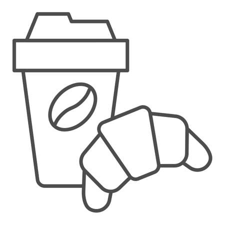 Croissant and cup of coffee thin line icon, breakfast concept, Coffee break time with croissant sign on white background, paper cup with hot drink and croissant icon in outline. Vector graphics.  イラスト・ベクター素材