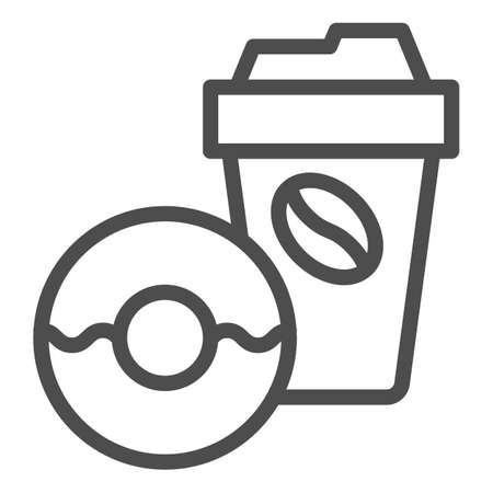 Donut and coffee to go line icon, breakfast concept, Coffee break time with doughnut sign on white background, disposable coffee cup with sweet donut icon in outline style. Vector graphics.  イラスト・ベクター素材