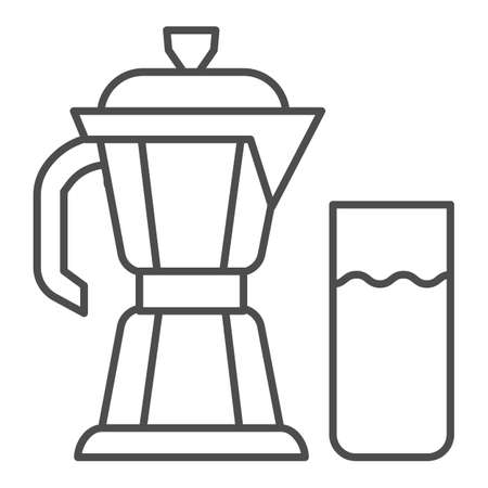 Geyser coffee maker with glass of milk thin line icon, Coffee time concept, moka pot sign on white background, coffee kettle with milk icon in outline style for mobile and web. Vector graphics.