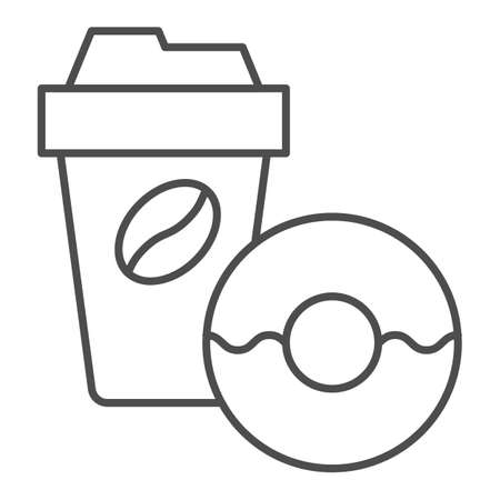 Donut and coffee to go thin line icon, breakfast concept, Coffee break time with doughnut sign on white background, disposable coffee cup with sweet donut icon in outline style. Vector graphics.
