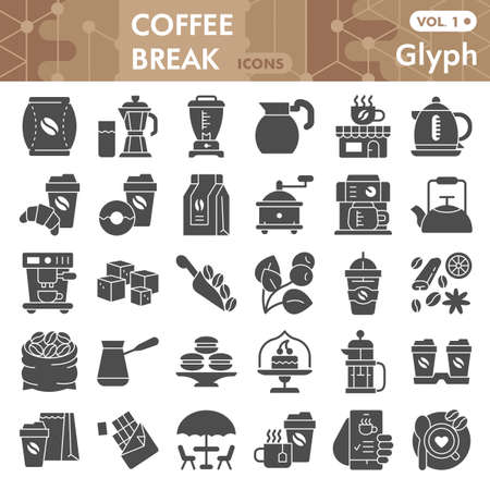 Coffee solid icon set, Coffee break symbols collection or sketches. Coffee time glyph style signs for web and app. Vector graphics isolated on white background.