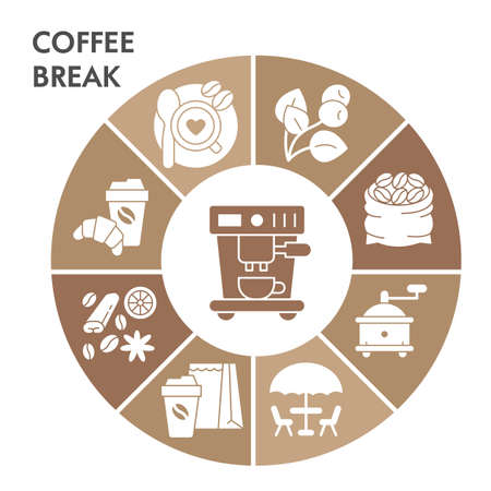 Modern Coffee break Infographic design template with icons. Coffee time Infographic visualization on white background. Caffeine template for presentation. Creative vector illustration for infographic.