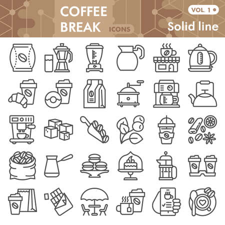 Coffee line icon set, Coffee break symbols collection or sketches. Coffee time linear style signs for web and app. Vector graphics isolated on white background.