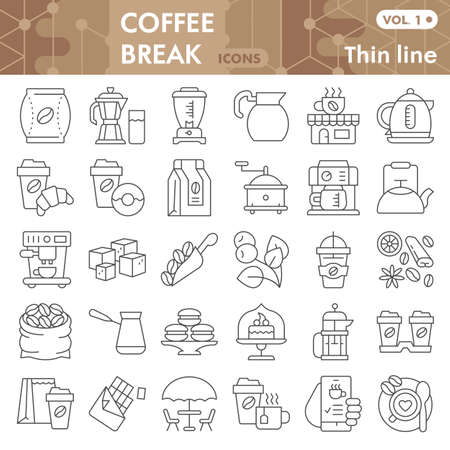 Coffee thin line icon set, Coffee break symbols collection or sketches. Coffee time linear style signs for web and app. Vector graphics isolated on white background.