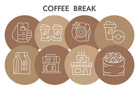 Modern Morning coffee break Infographic design template with icons. Coffee time Infographic visualization in bubble design on white background. Creative vector illustration for infographic.  イラスト・ベクター素材