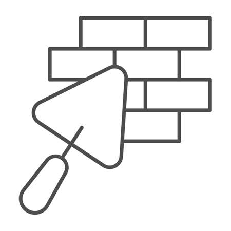 Brickwork and trowel thin line icon, house repair concept, Bricklaying sign on white background, Brick wall trowel icon in outline style for mobile concept and web design. Vector graphics.