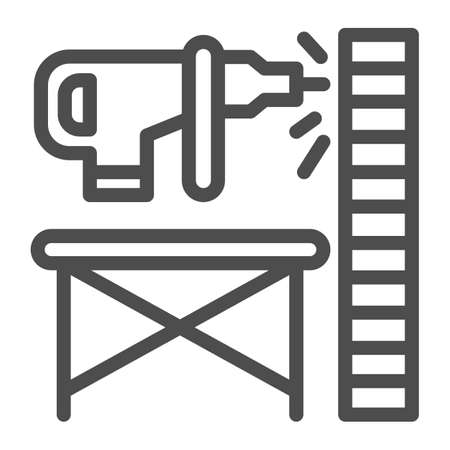 Perforator drilling wall line icon, house repair concept, Electric drill and wall sign on white background, Wooden stand against wall and drill icon in outline style. Vector graphics.