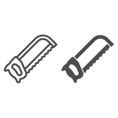 Manual saw line and solid icon, house repair concept, saw sign on white background, handsaw icon in outline style for mobile concept and web design. Vector graphics. Illustration
