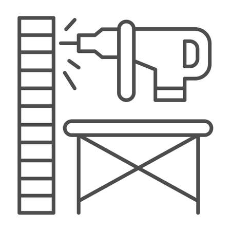 Perforator drilling wall thin line icon, house repair concept, Electric drill and wall sign on white background, Wooden stand against wall and drill icon in outline style. Vector graphics. Çizim