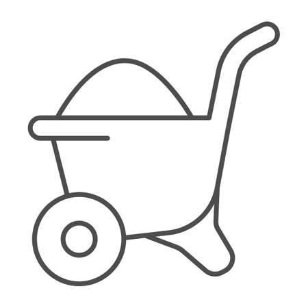 Sand in wheelbarrow thin line icon, house repair concept, Sand trolley sign on white background, construction material on barrow icon in outline style for mobile and web design. Vector graphics.