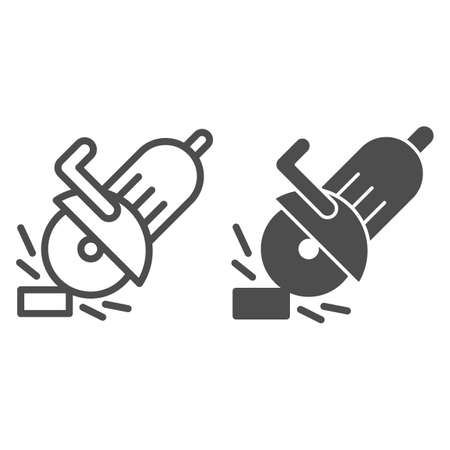 Electric saw line and solid icon, house repair concept, saw sign on white background, circular saw icon in outline style for mobile concept and web design. Vector graphics. Illustration