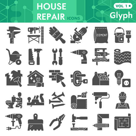 House repair solid icon set, Homebuilding and renovating symbols collection or sketches. Construction and repair glyph style signs for web and app. Vector graphics isolated on white background. Çizim