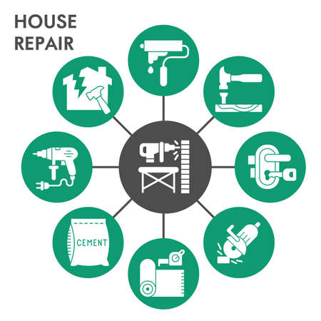 Modern house repair Infographic design template with icons. Home repairing Infographic visualization in bubble design on white background. Creative vector illustration for infographic. Çizim