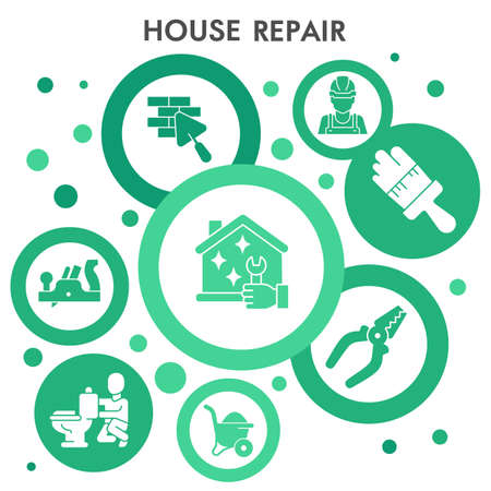 Modern Construction Infographic design template with icons. House repair Infographic visualization in bubble design on white background. Creative vector illustration for infographic. Çizim