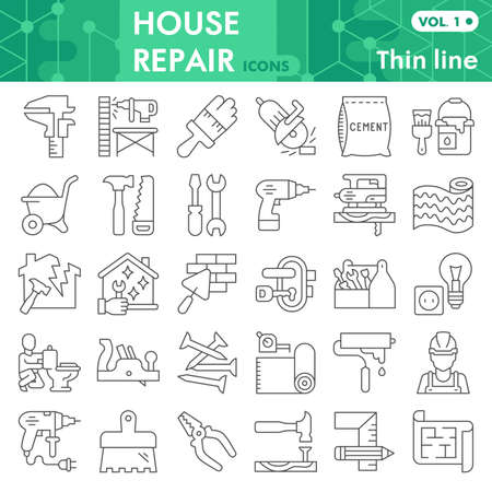 House repair thin line icon set, Homebuilding and renovating symbols collection or sketches. Construction and repair linear style signs for web and app. Vector graphics isolated on white background.