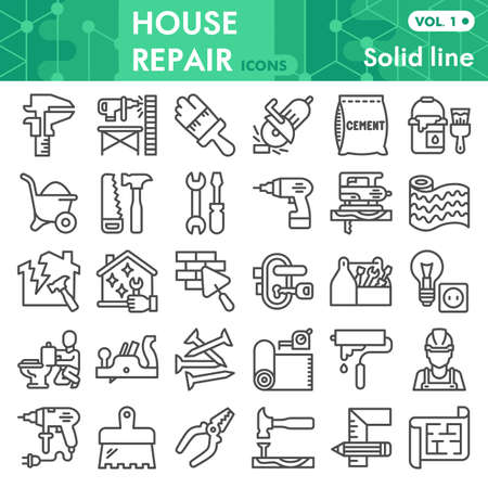 House repair line icon set, Homebuilding and renovating symbols collection or sketches. Construction and repair linear style signs for web and app. Vector graphics isolated on white background. Çizim