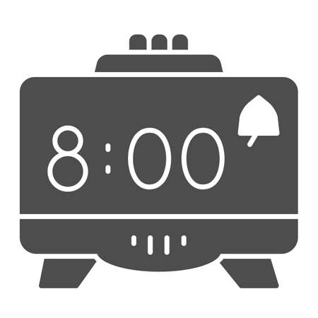 Digital alarm clock solid icon, Coworking concept, Retro electronic clock sign on white background, digital watch icon in glyph style for mobile concept and web design. Vector graphics.