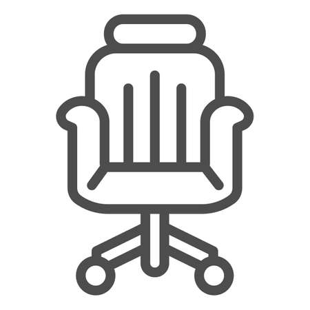 Office chair line icon, Coworking concept, office armchair sign on white background, chair icon in outline style for mobile concept and web design. Vector graphics.