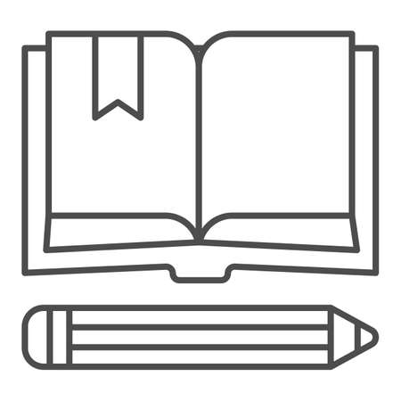Book with bookmark and pencil thin line icon, school concept, Notebook and pencil sign on white background, open book with bookmark and pen icon in outline style for mobile. Vector graphics. Ilustração