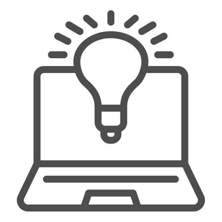Laptop and lamp line icon, Coworking concept, laptop with idea and innovation light sign on white background, lightbulb in computer monitor icon in outline style for mobile. Vector graphics.