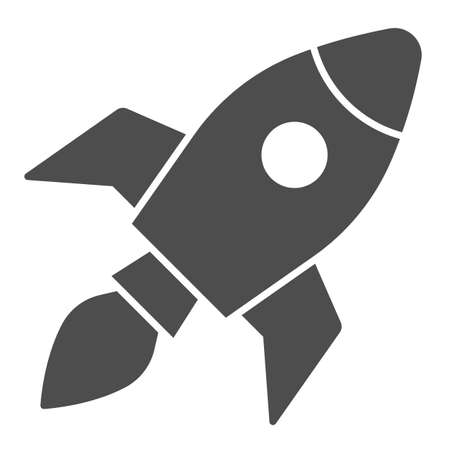 Rocket solid icon, Coworking concept, Start up business sign on white background, Rocket launch icon in glyph style for mobile concept and web design. Vector graphics.