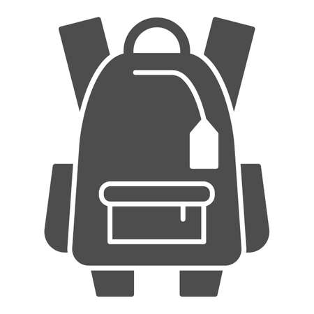 Sports backpack solid icon, tourism concept, Schoolbag sign on white background, backpack icon in glyph style for mobile concept and web design. Vector graphics.