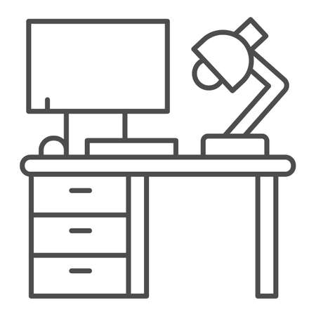 Computer with lamp and desk thin line icon, Coworking concept, office workspace sign on white background, workplace with computer icon in outline style for mobile and web design. Vector graphics.
